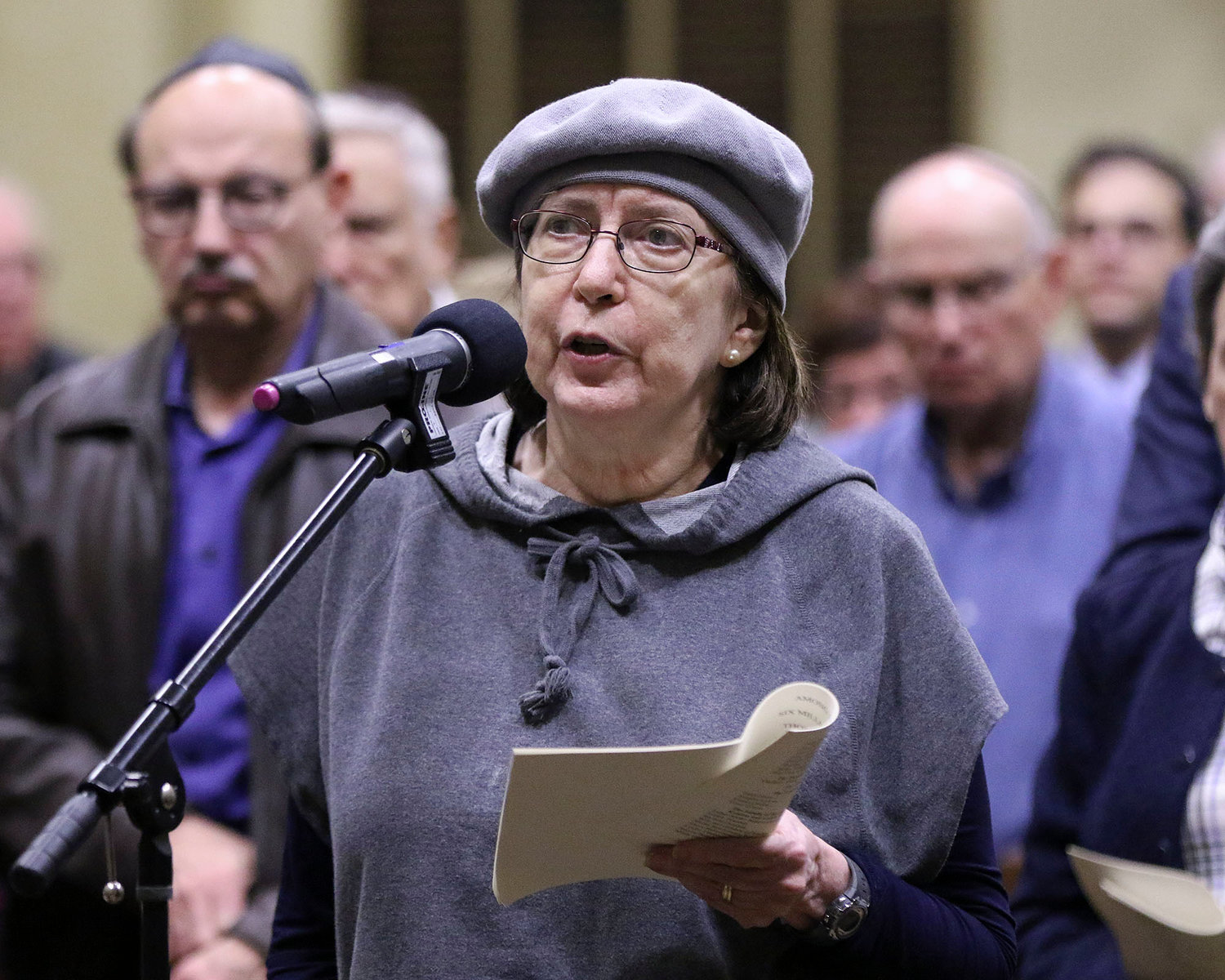 Elly Leyman lists family members killed in the holocaust.  Jewish Rhode Island/Glenn Osmundson
