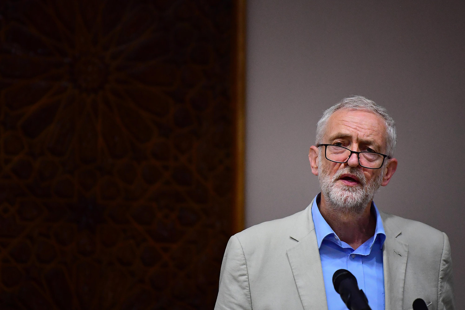 Labour leader Jeremy Corbyn speaking during a visit to Regents Park Mosque in London.