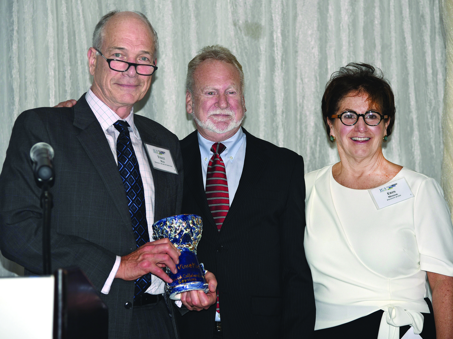 Award winner (left to right): Vince Mor, recipient of The Maurice Glicksman Leadership Award with Jim Galkin, and Erin Minior.