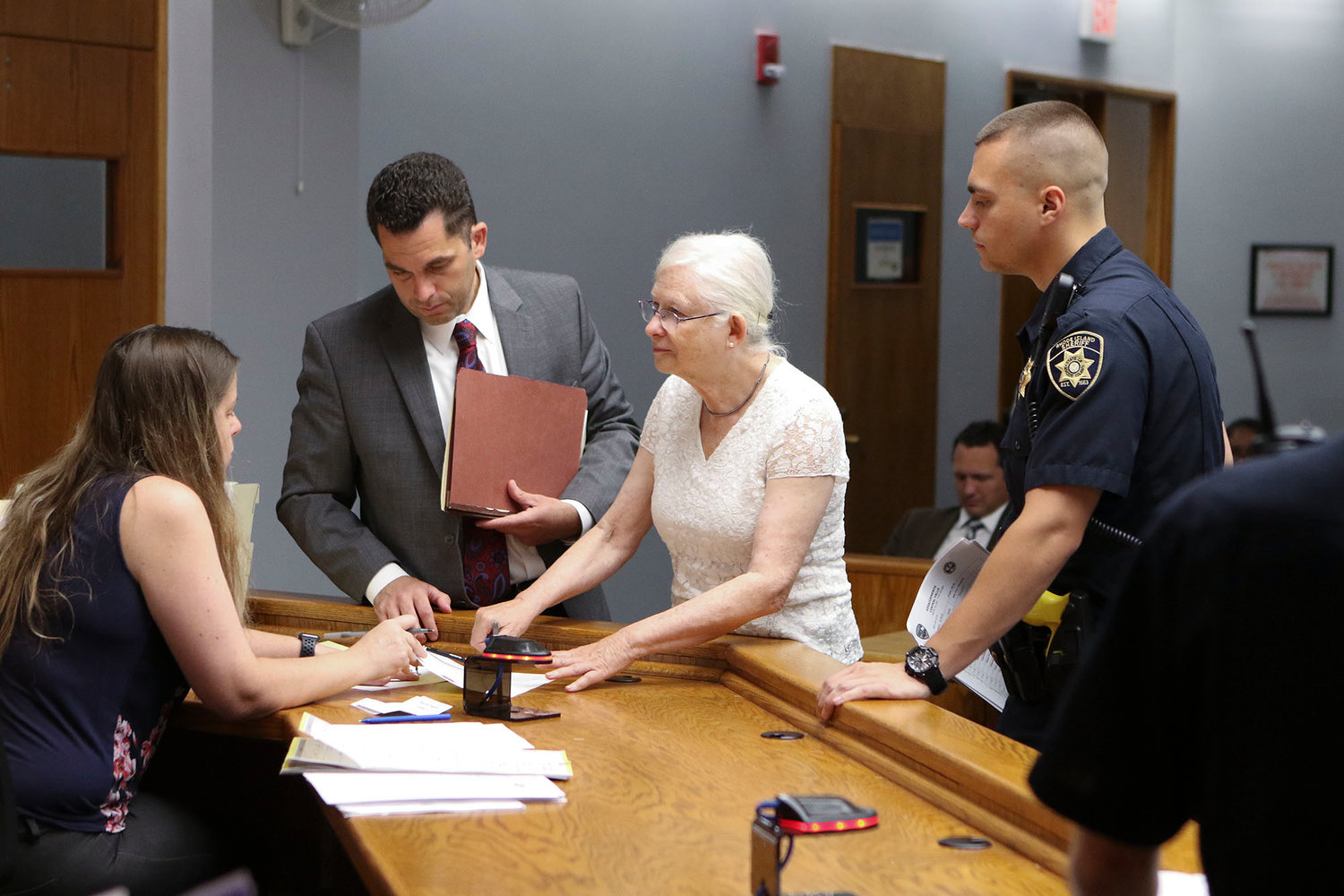 Arraignments at District Court, on Dorrance Street, after a July 2, ICE protest at the Wyatt Detention Center in Central Falls.