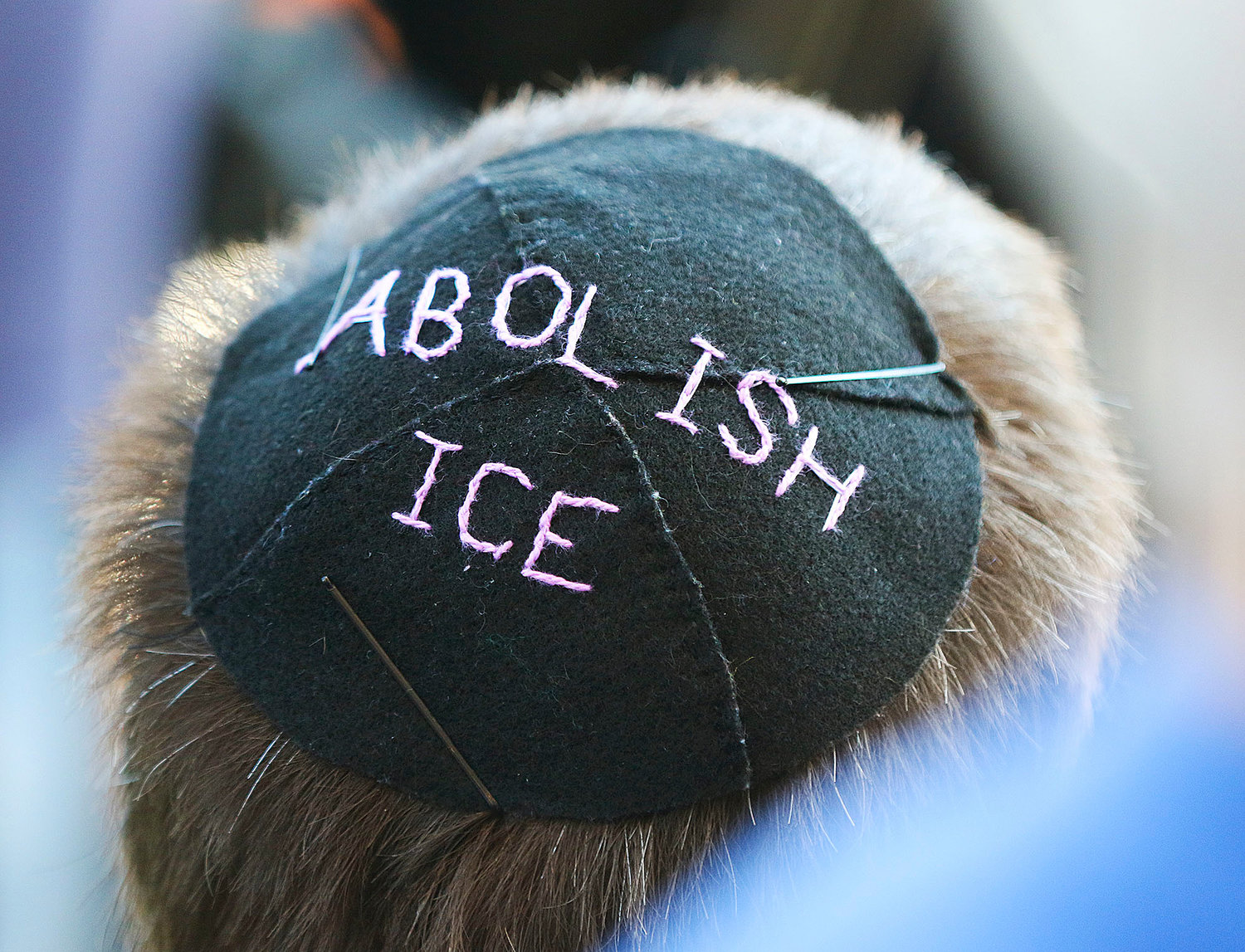 Sy Gitin, of Providence, wore a home made yarmulke to the news conference Aug. 20