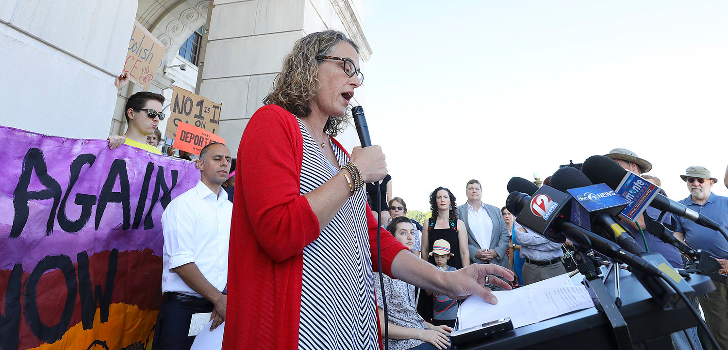 Rabbi Sarah Mack, president of the  Board of Rabbis of Greater Rhode Island, speaks at a news conference at the State House Aug. 20. The news conference was organized by Never Again  Action, calling for an end to ICE detention at the Wyatt Detention Center in Central Falls.
