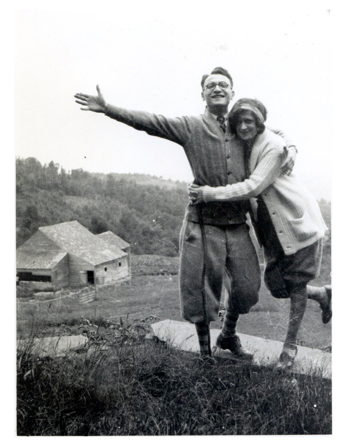 Moe Fink and Betty Cohen, Mike Fink's parents, eloping from Providence to Montreal in August 1926. It was taken at the Vermont inn.