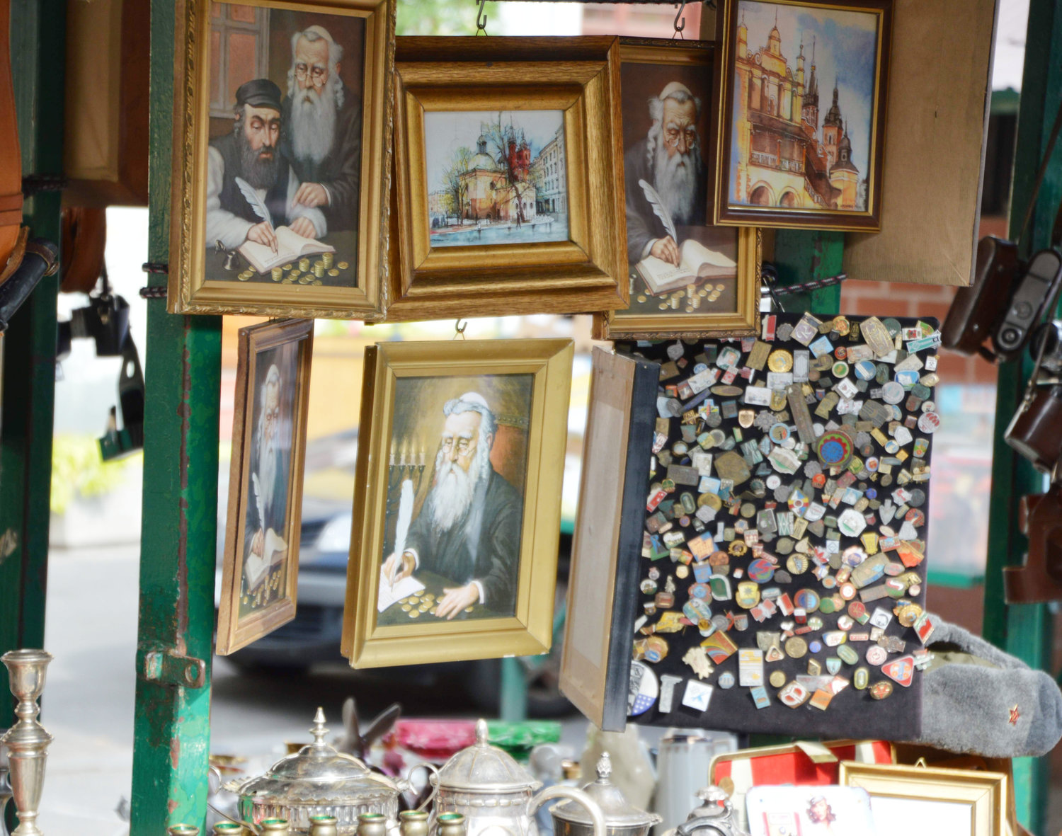 Lucky Jew pictures and other souvenirs for sale at Plac Nowy in the former Jewish district of Krakow.