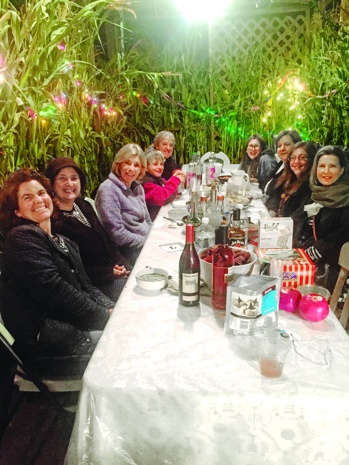 Women gathered for a Core Connect RI program in the Felder family sukkah.