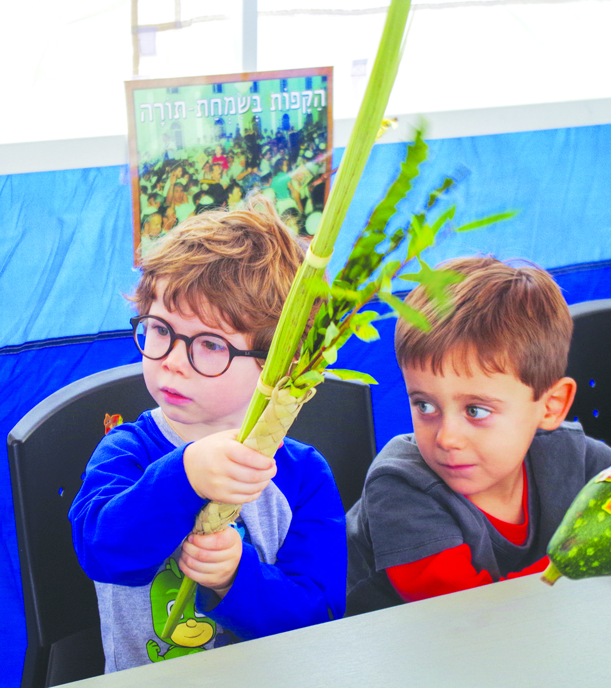 Children from the David C. Isenberg Family Early Childhood Center at the JCC visited the sukkah to shake the lulav.