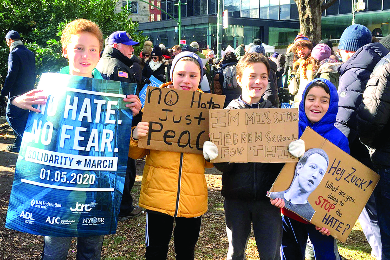 Kids at the march against anti-Semitism in New York, Jan. 5, 2020.