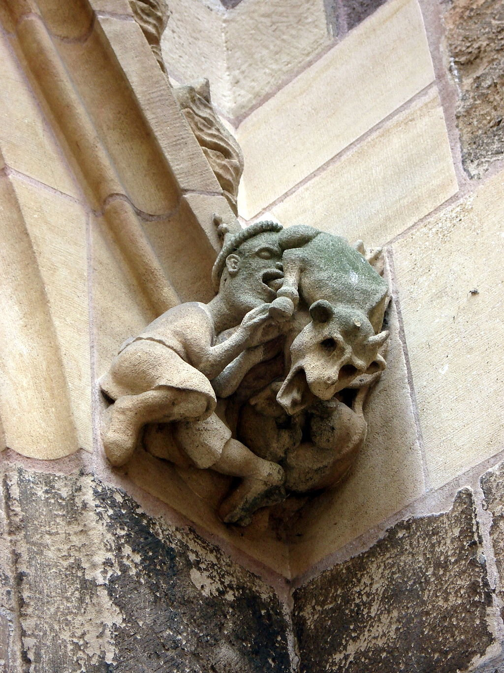 A Judensau on the Cathedral of St. Martin in Colmar, Germany.