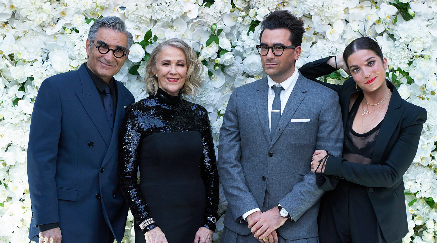 "The ""Schitt's Creek"" cast at a pre-Emmys party, Sept. 21, 2020. From left: Eugene Levy, Catherine O'Hara, Dan Levy and Anne Murphy."