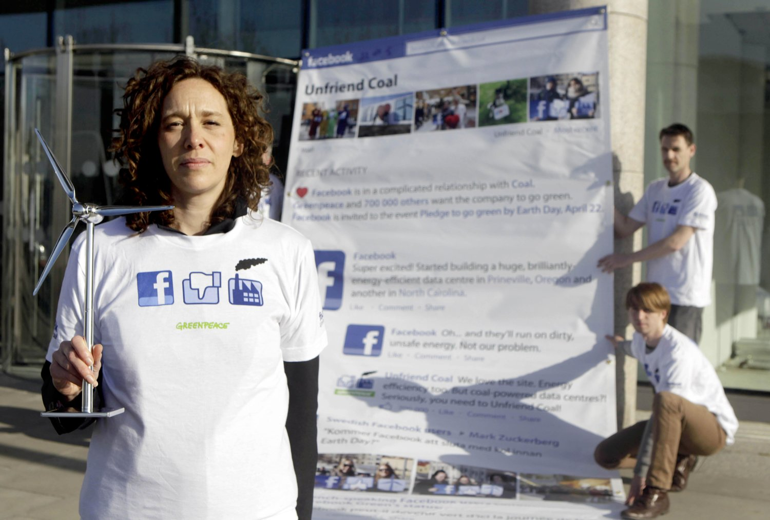 Climate activist Tzeporah Berman leads Irish Greenpeace volunteers in a protest outside Facebook's Dublin office calling on them to change the type of energy they use.