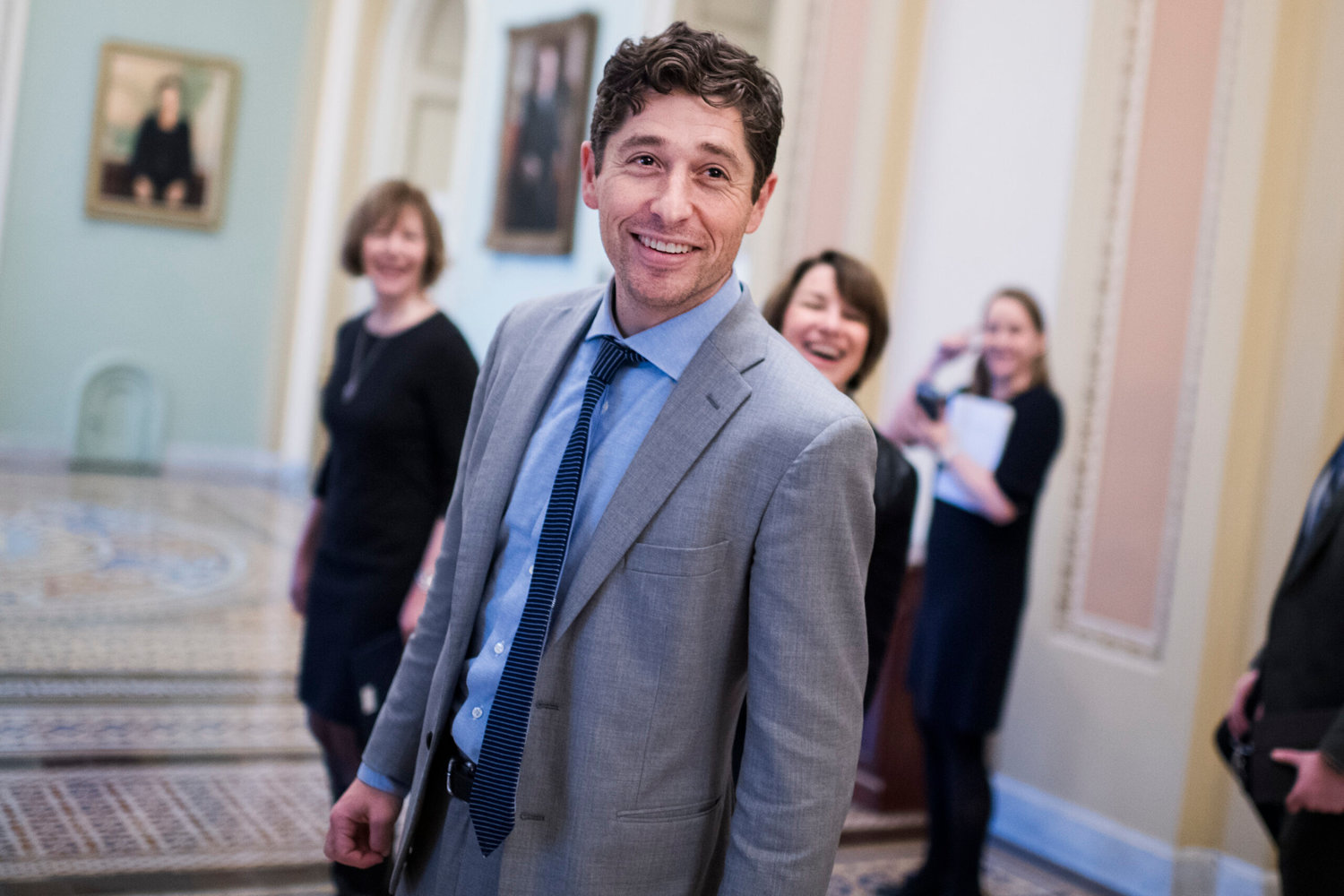 UNITED STATES - JANUARY 24: Minneapolis Mayor Jacob Frey takes  a tour of Capitol with Sens. Amy Klobuchar, D-Minn., right, and Tina Smith, D-Minn., on Thursday, January 24, 2019. (Photo By Tom Williams/CQ Roll Call)