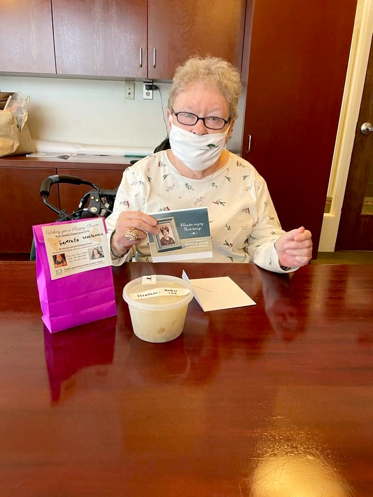 Jewish Eldercare of Rhode Island (a JCS program) delivered Hamantaschen and Matzah Ball Soup to Jewish Seniors in nursing homes and assisted living facilities across RI. The soup was donated by the Adler Family in memory of Wendy B. Adler.