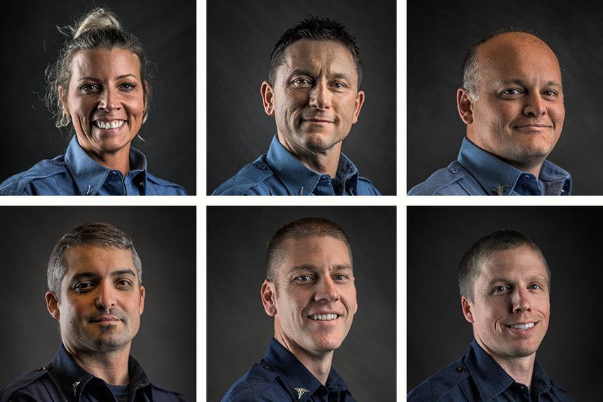 Top: Capt. Kaci Corrigan, Capt. Dale Heidal, Capt. Jeremy Underwood. Bottom: Lt. Doug Gelsleichter, Lt. Nate Jean, Lt. Danny Hansen.