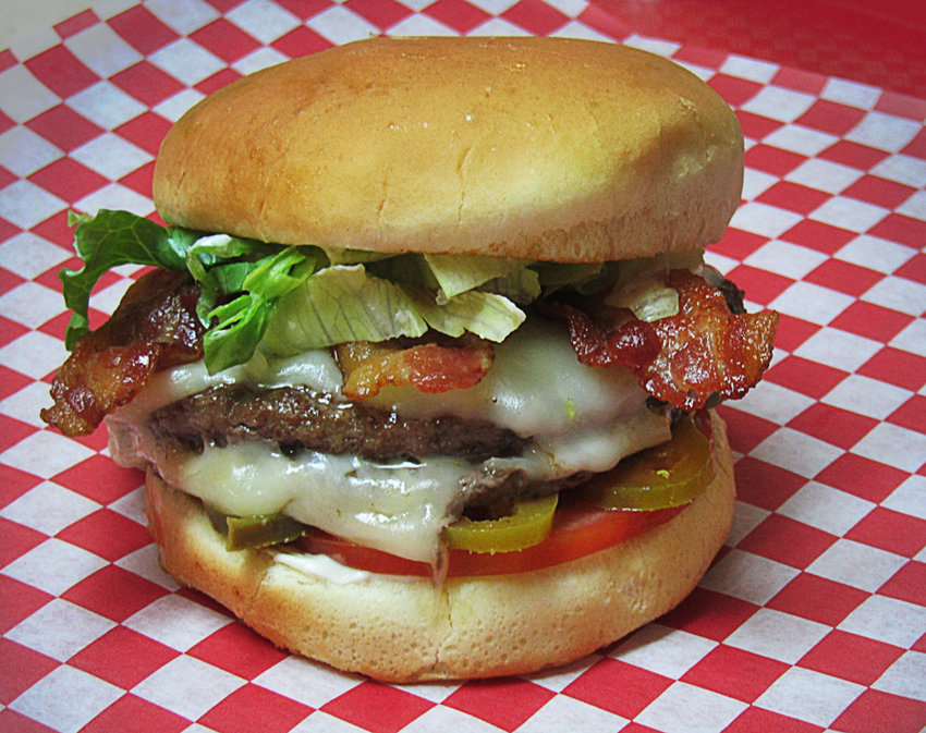 A bacon Swiss cheeseburger with jalapeños never looked so good.