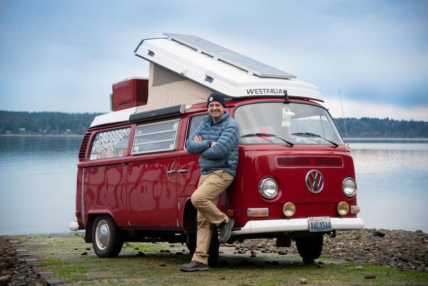 """Bressette with his pride and joy 1974 VW camper van named """"Rosemarie."""""""
