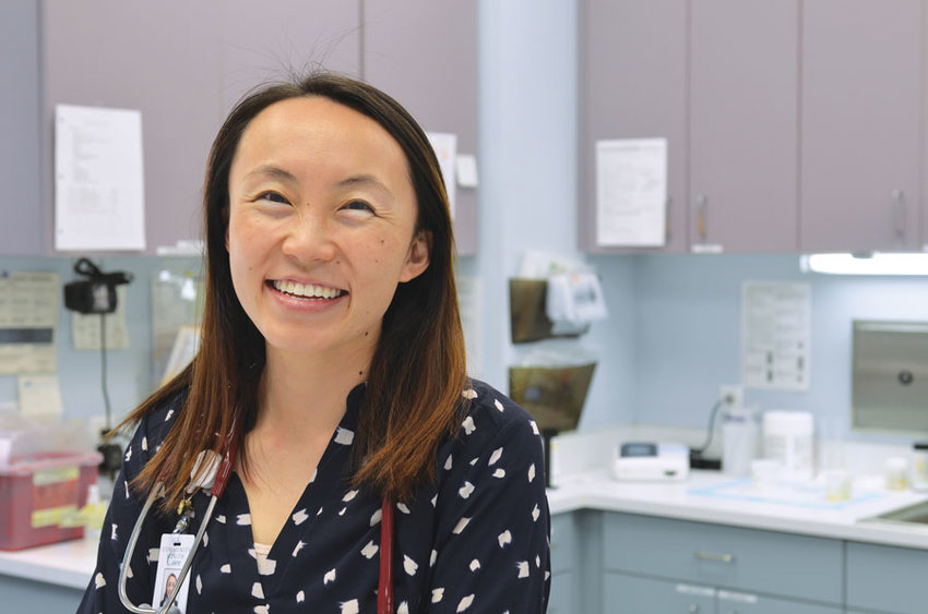 Dr. Mimi Chau wraps up her day in Key Center.