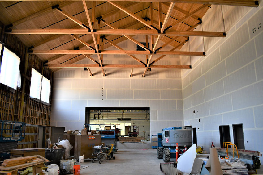 Inside the new Evergreen Elementary building as it undergoes the final stages of construction.