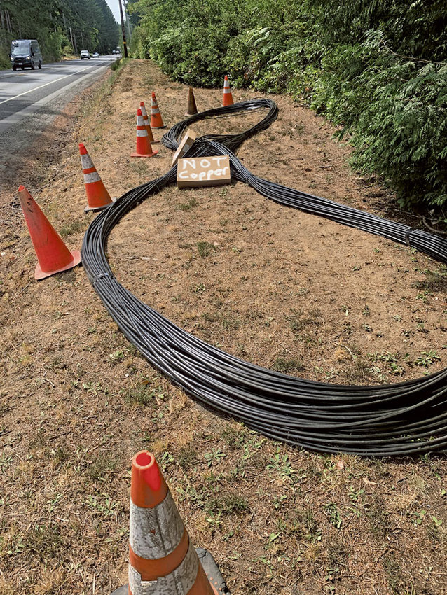 """Crews installing Peninsul School District's new fiber optic cable marked everything """"Not Copper"""" to prevent theft."""