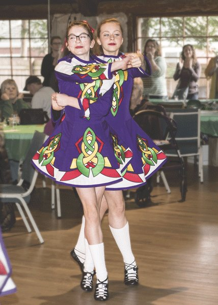 A pair of Slieveloughane dancers performing at the Suds & Spuds party at the Longbranch Improvement Club March 16. Photo: Ed Johnson, KP News