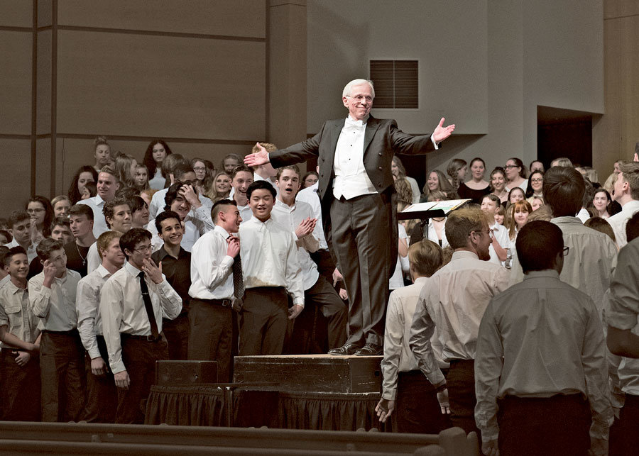 The assembled choirs of PSD high schools and middle schools performed at the Secondary Choral Festival held at Chapel Hill Presbyterian Church March 11, conducted by Dr. J. Edmund Hughes, adjunct professor at the University of Puget Sound. Photo: Ed Johnson, KP News