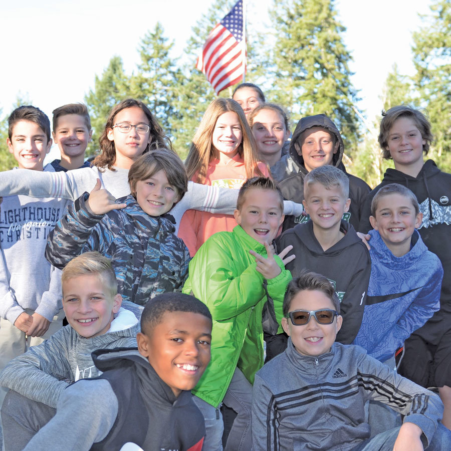Lighthouse Christian 6th-graders deliver 2 tons to KPCS Food Bank. Photo: Lisa Bryan, KP News