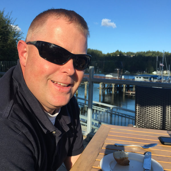 Scott celebrating his 46th birthday on the waterfront in 2016.
