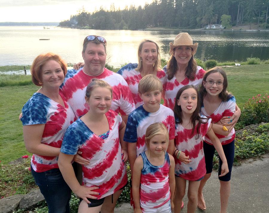 Joanna Babbitt's (far left) family reunion tie-dye, celebrating Fourth of July at Home circa 2018.