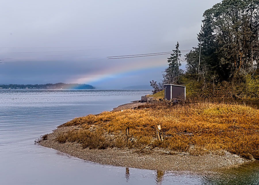 Spring rainbow north of the mainland Herron Island ferry landing.