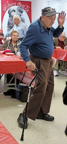 Charlie Franza enjoyed one of his favorite pastimes, dancing, at the Salisbury/East Meadow Senior Center's Valentine's Day celebration last February.