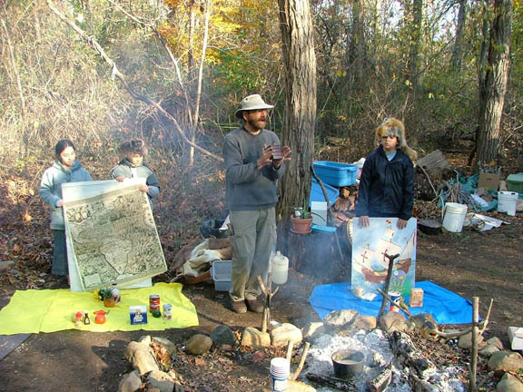 At the fire: Visitors to Garvies Point Museum and Preserve can experience a Native American feast.