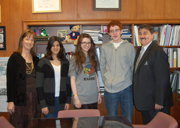 Three Hewlett High School students were named semifinalists in the Intel Science Talent Search competition last week, including, second from left, Shira Shamir, Jennie Shapira and Eric Brooks. The students were joined by social science advisor Dr. Patricia Nardi and Principal Thomas J. Russo.