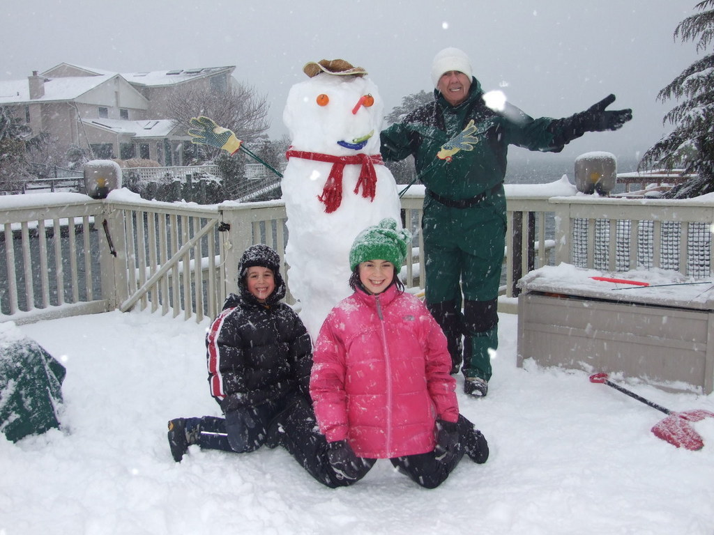 Dani, Coby, Dad and the Atlantic Beach Snow Dude