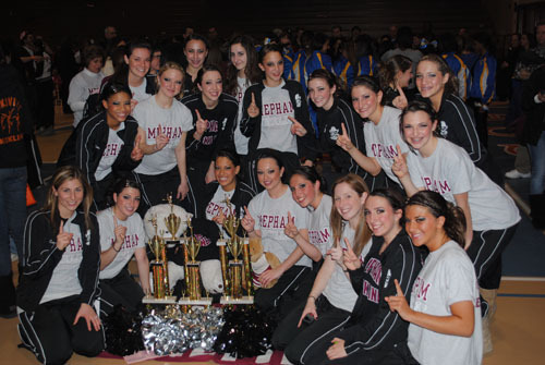 The Mepham High School kickline added a few more trophies to its growing collection after winning the Champions of Champions title in the lyrical and pom categories and taking first place in their division for kick.