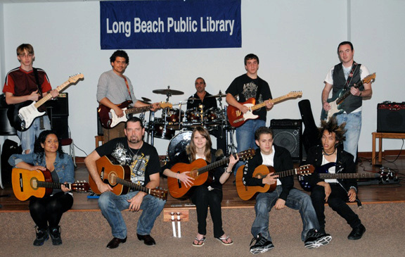 Jamkestra, an ensemble of musicians had their debut at the Long Beach Library. From back row left, Matt Porter, Chris Renzo, Vinnie Rizzotti, Alex Frondelli, Phil Heide. Seated from left, Catherine Cartagena Ben Metzger, Kristin Schwenk, Jose Fuentes and Paul Cintron.
