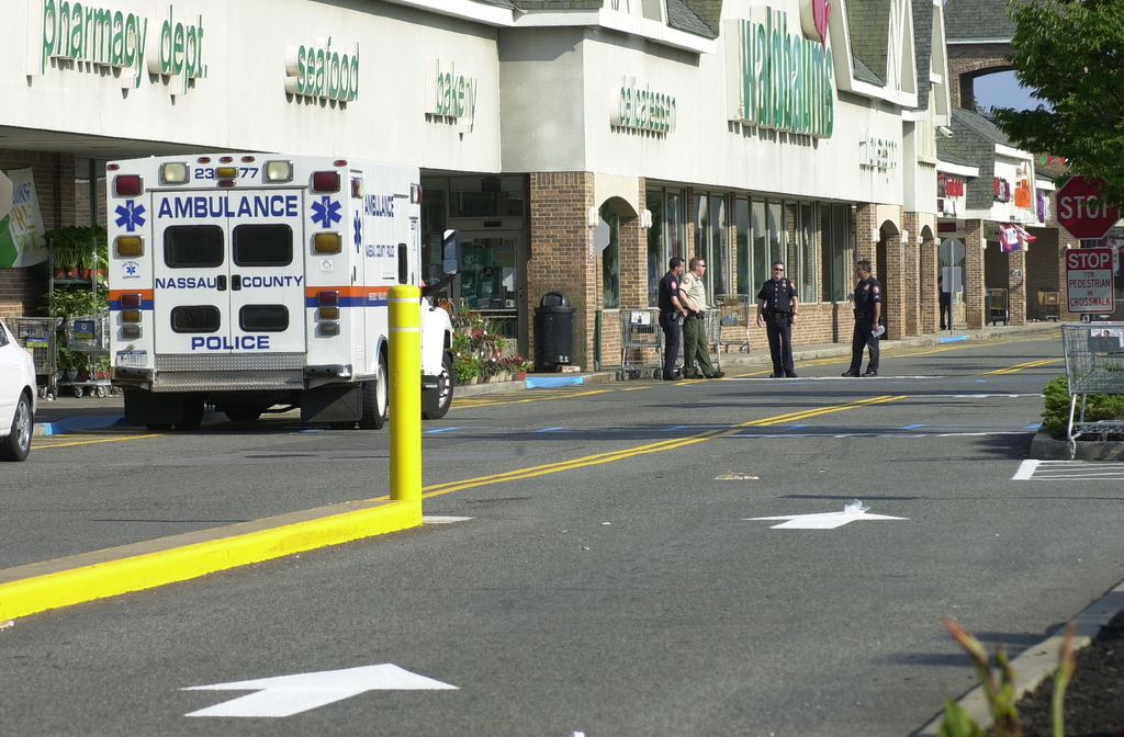 The Emergency Services Unit stationed in front of Waldbaum's shortly before the bomb squad arrived.