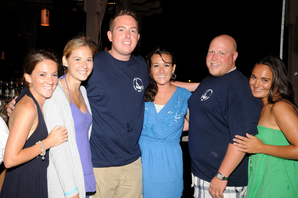 Camp Anchor staffers Sarah Barbarotto, Kelly Joyce, Dave O'Donnell, Colleen McMullan, Kevin Richman, and Jen Florio at the Coyote Grill fundraiser on July 29.