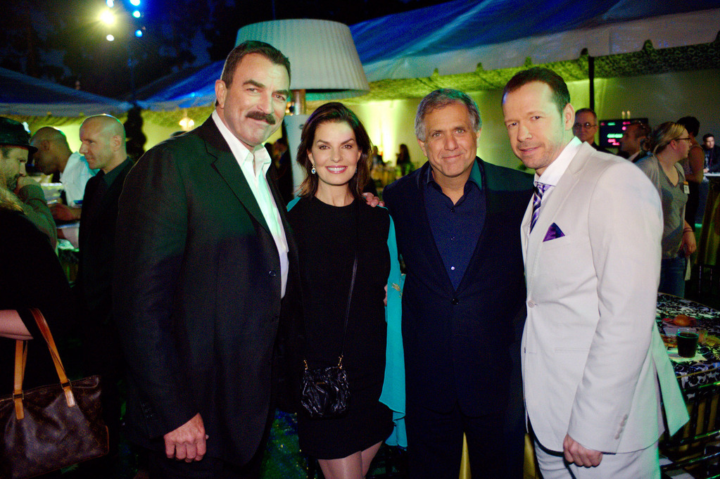 CBS President Les Moonves, second from right, with CBS stars Tom Selleck, Sela Ward and Donnie Wahlberg.