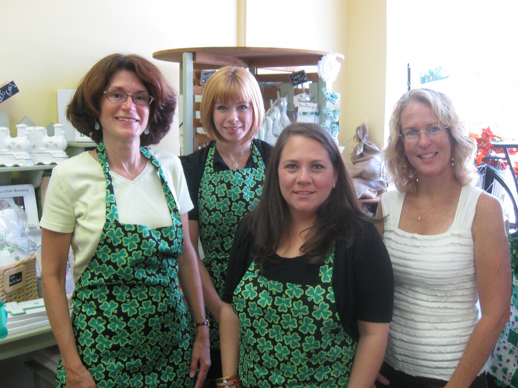 Kathy Favelson, Jane Paladino, owner Jennifer Derrig, and Tricia Murphy of The Lynbrook Irish Shop.