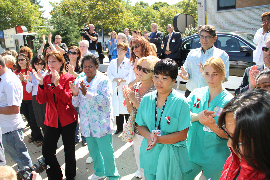 Nurses came out to support an end to workplace violence on Tuesday morning.