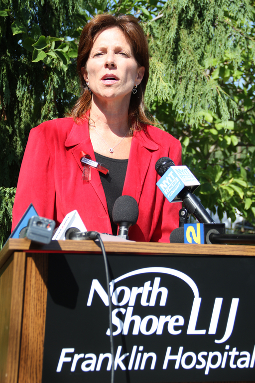 Nancy Joly-Murphy of the New York State Nurses Association spoke outside of Franklin Hospital on Sept. 14, calling for an end to violence in the workplace.