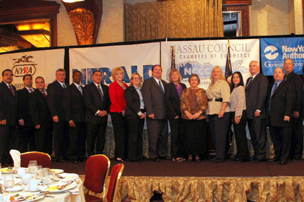 Stephen Wangel, second from left, and Charles Lunenfeld, second from right, were honored at the Small Businessperson of the Year and Legislative Breakfast on Oct. 15.