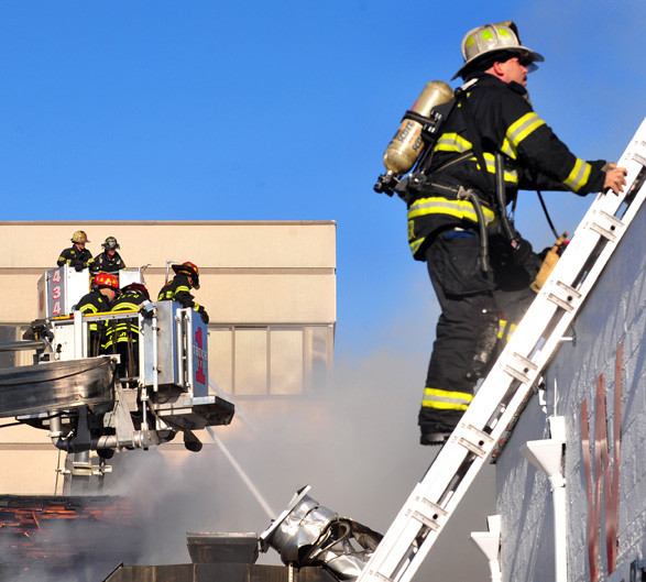 It took 200 firefighters from seven departments more than two hours to get the fire under control.