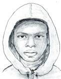 This police sketch depicts the suspect in a previous purse snatching incident.