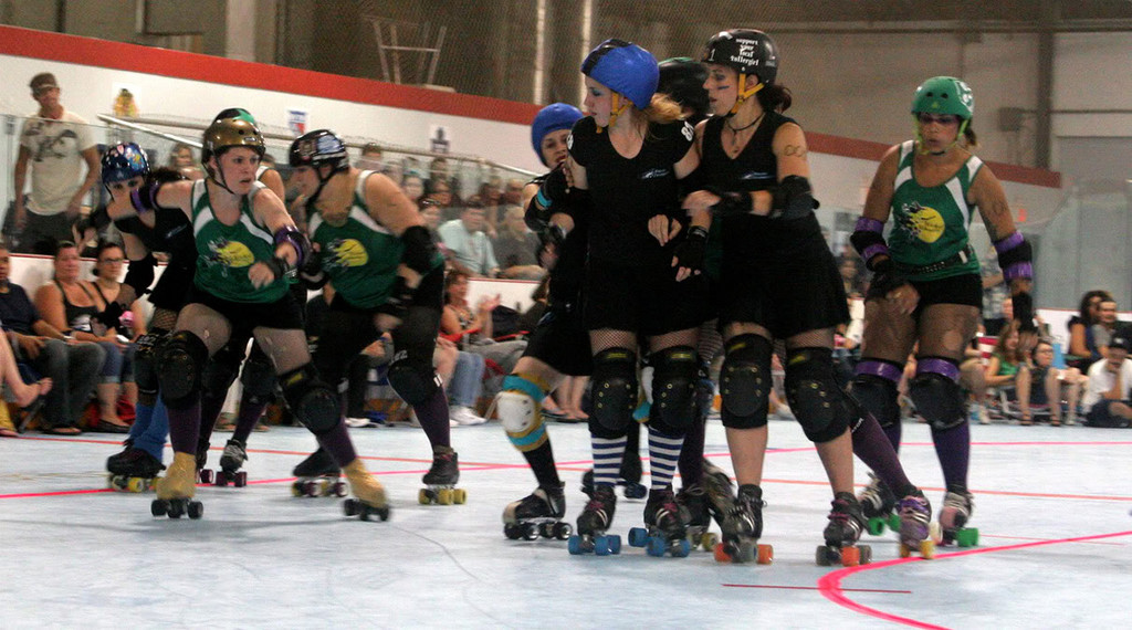 "Many of the skaters are from East Rockaway, Lynbrook and surrounding areas. They take descriptive monikers such as ""Serial Mom,"" ""MadDonna,"" ""Captain Morgan,"" ""C-Roll,"" ""Cyanide Kisses,"" ""Whiskey Lullabye,"" and ""Missy Nigma."""