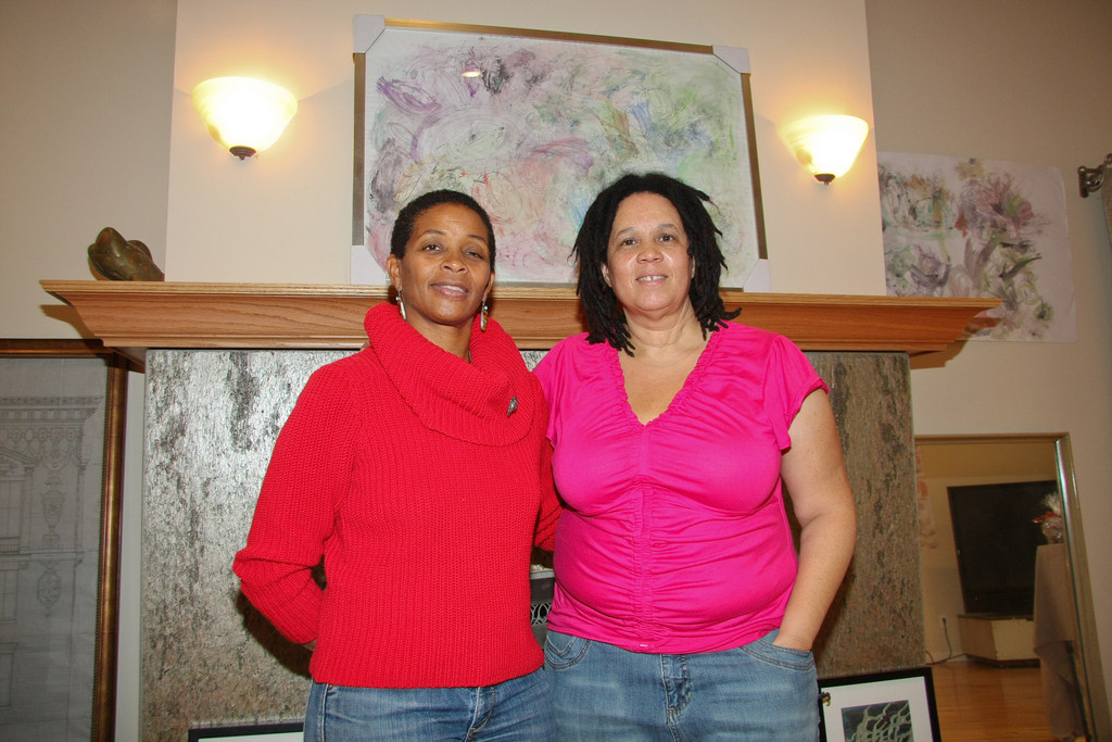 Lakeview artist Felicia Moseley-Jackson, left, and Harlem artist Barbara Russell.