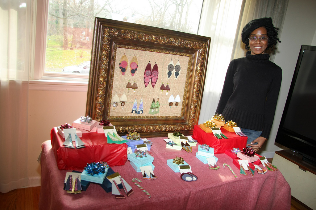 Nadege Alexis displayed her handmade jewelry at the Art & Gift Weekend Festival in Lakeview on Dec. 11 and 12.