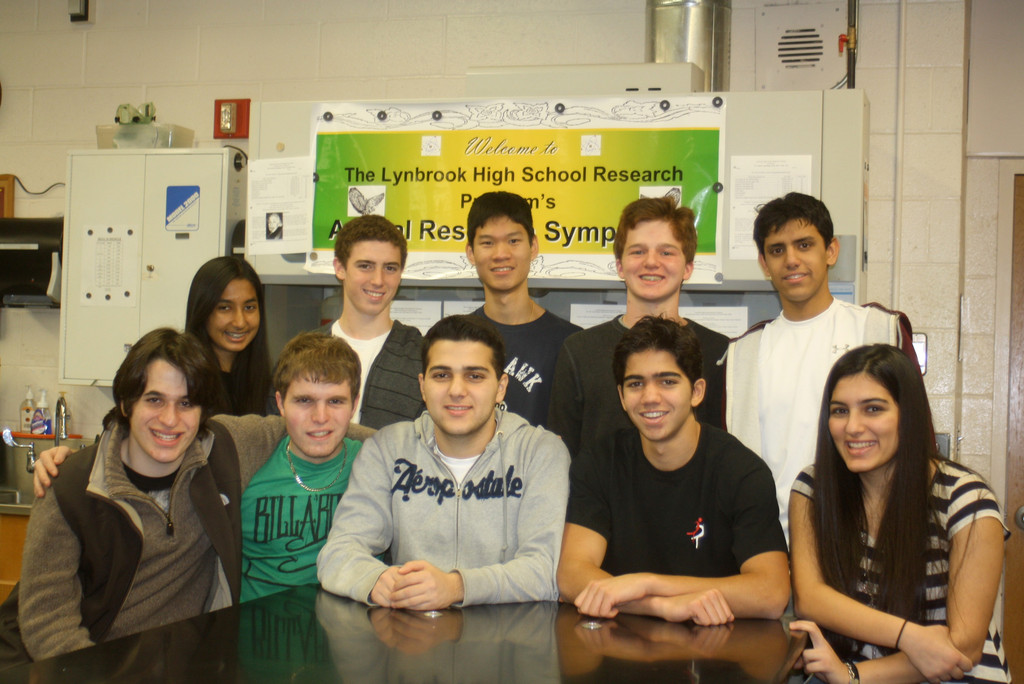 Lynbrook High School's eleven Intel entrants are, seated from left: Jacob Kayen, Gideon Stryker, Mikayel Ayvazyan, Jared Kahn and Mariam Ayvazyan; standing from left are Ayman Khan, Matthew Gus, Bryan Sitt, Semifinalist Daniel Kramer and Ankush Mohile. Absent from photo: Mariel Messilaty.