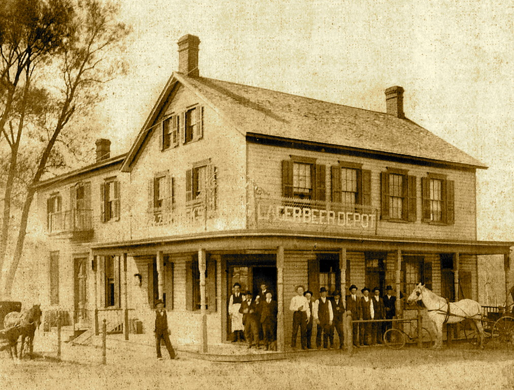 Herman Hotel, part of the Fosters Meadow community, sat on the northwest corner of Elmont Road and Linden Boulevard (circa 1890s). There is a gas station on this street corner today.