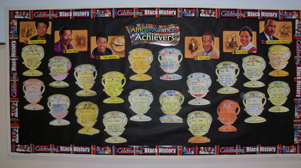 In anticipation of Black History Month, students at the George Washington Elementary School in West Hempstead put together a bulletin board depicting images and information about notable African-American achievers and historical figures.