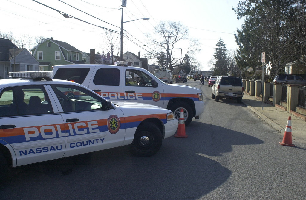 Police cordoned off a section of Bellmore Avenue south of Merrick Road overnight after the shooting.